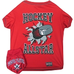 Hockey Pet Shirt with Bandana Red Medium